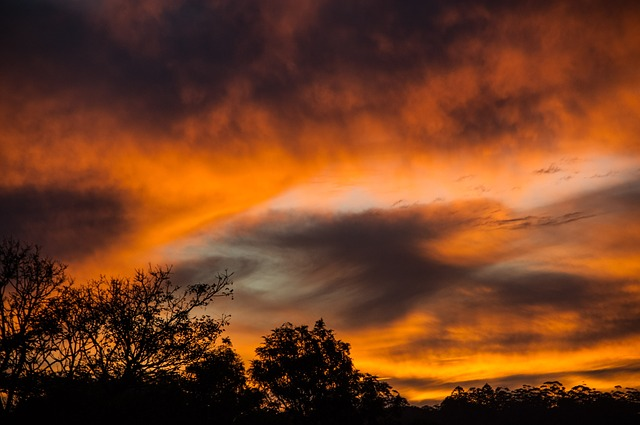 Sunset, Sky, Clouds, Orange, Grey, Dramatic, Australia