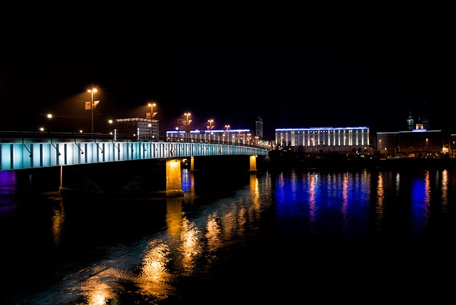 Linz, Austria, Upper Austria, Night, Bridge, Danube