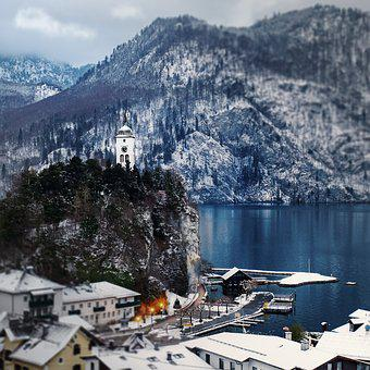 Traunkirchen, Traunsee, Austria, Lake, Mountain, Hill