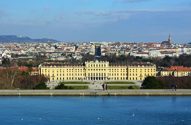 Vienna, Austria, Schönbrunn, Castle, Park, Water, City