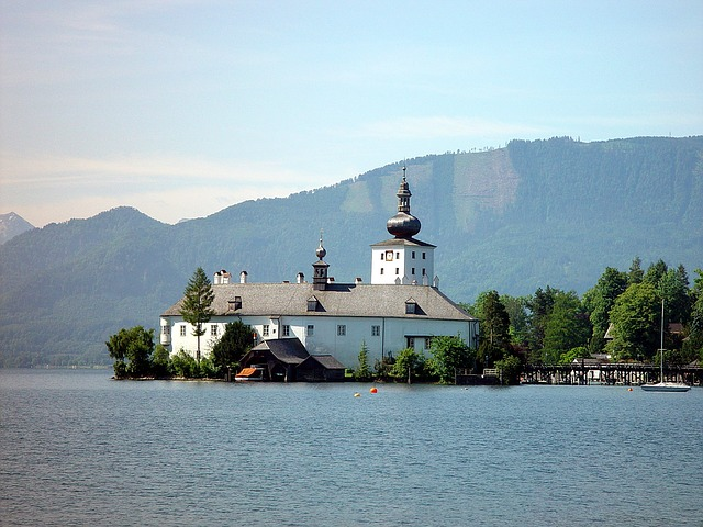 Traunsee, Gmunden, Austria, Landscape, Sea Castle Place