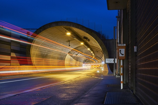 Transport System, Road, Traffic, Auto, Tunnel, Blur