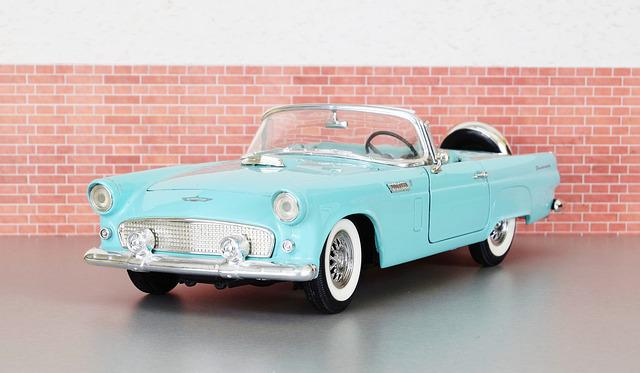 Model Car, Ford, Ford Thunderbird, Auto, Old, Toy Car