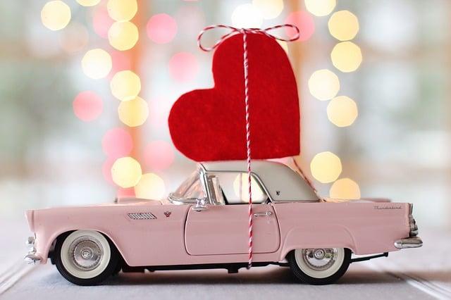Car, Auto, Valentines Day, Heart, Thunderbird, Vintage