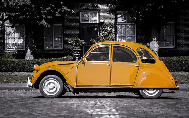 Car, Orange, Grayscale, Vehicle, Transport, Automobile