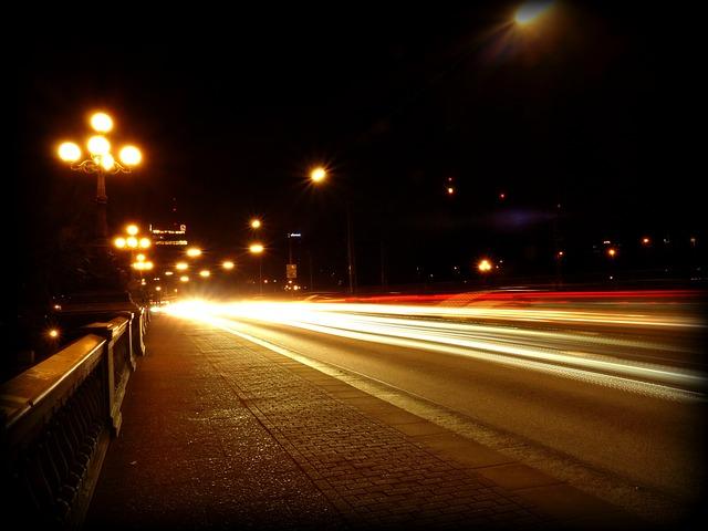 Traffic, Autos, Road, Night, Lights, Spotlight