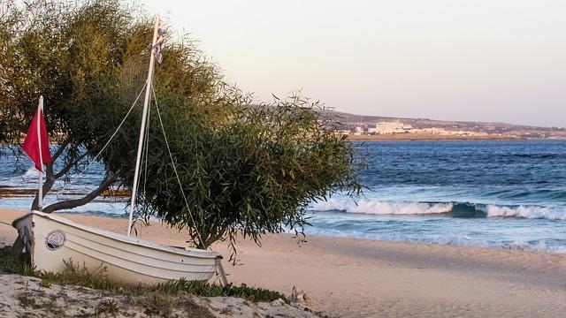 Beach, Empty, Boat, Autumn, End Of Season, Sand, Tree