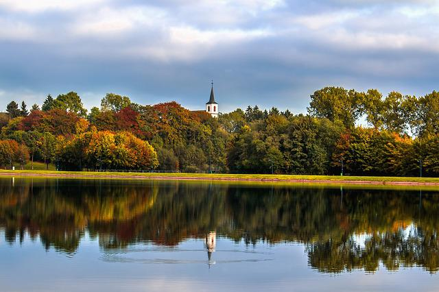 Park, Lake, Water, Autumn, Church, Steeple, Trees