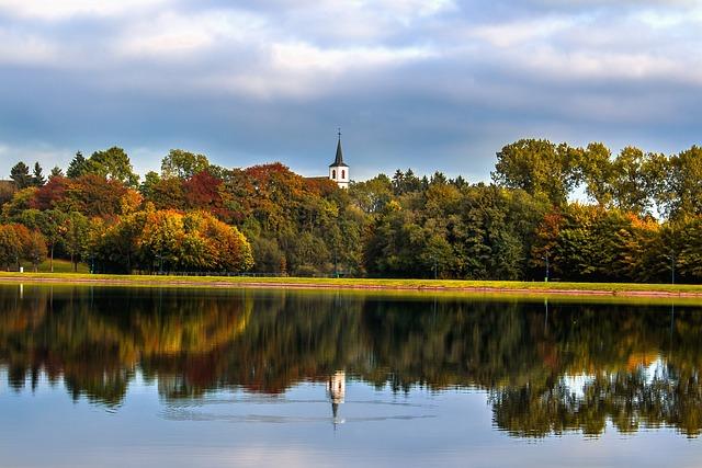 Park, Lake, Water, Autumn, Church, Steeple, Trees