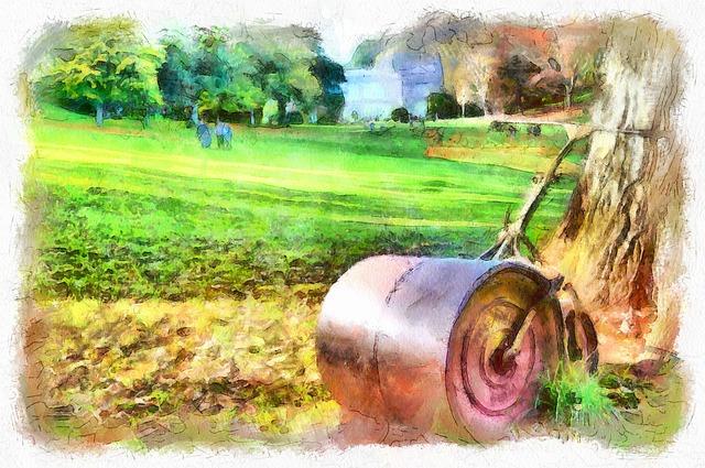Cockington Park, Garden, Grass, Roller, Trees, Autumn