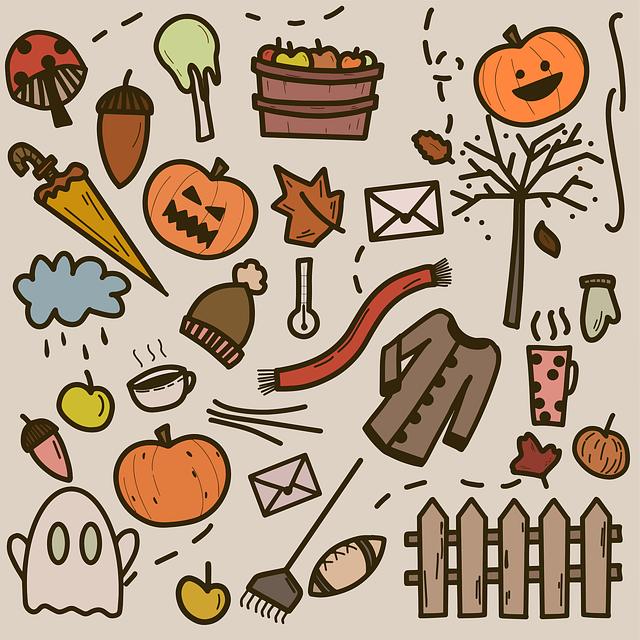 Halloween, Doodle, Autumn, Pumpkin, Hat, Glove