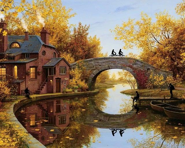 Field, Bridge, Autumn, Silhouettes, Landscape, River