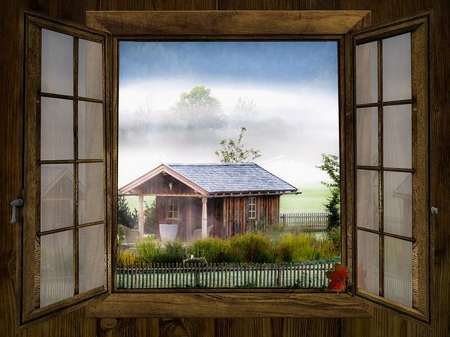 Window, Autumn, Outlook, Landscape, Fog, Window Frames