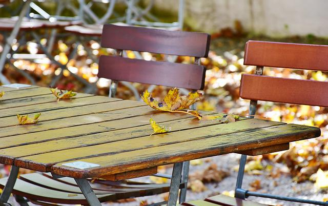 Autumn, Beer Garden, Chairs, Dining Tables, Leaves