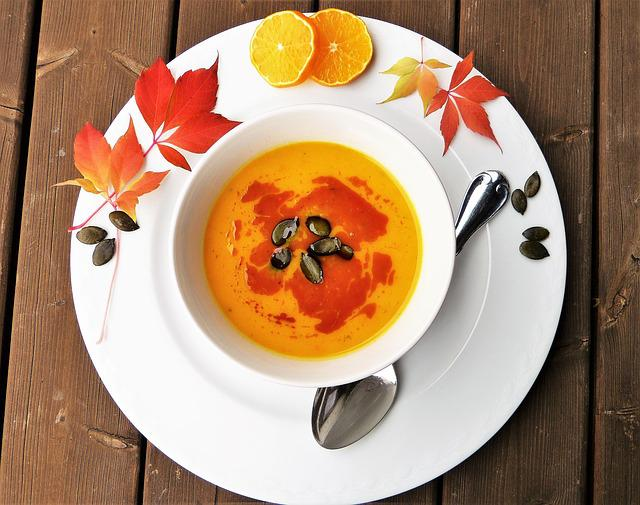 Pumpkin Soup, Soup, Pumpkin, Autumn, Plate