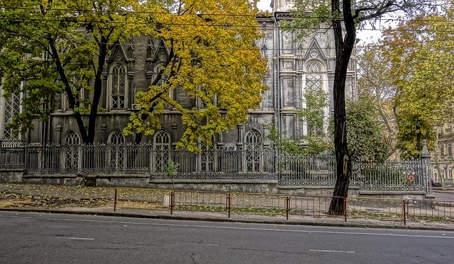 Odessa, Street, Building, Autumn