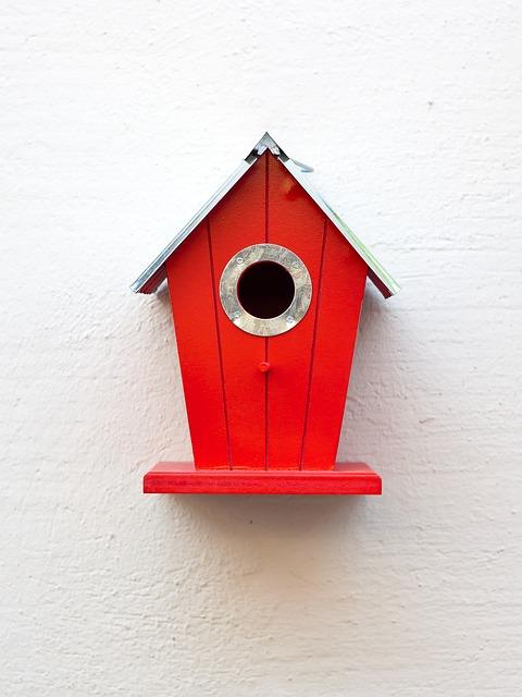 Aviary, Red, Birds, Nesting Place, Bird Feeder