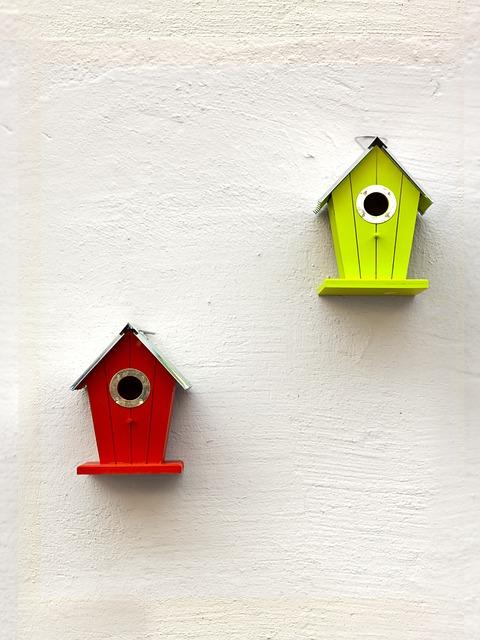 Aviary, Green, Birds, Red, Nesting Place, Bird Feeder