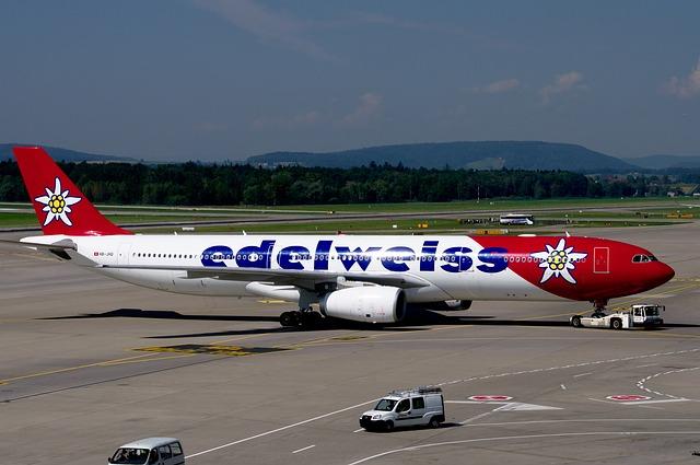 Airbus A330, Edelweiss, Airport Zurich, Jet, Aviation