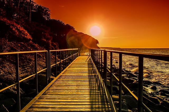 Baltic Sea, Sea, Bridge, Sunset, Away, Sunny, Peaceful