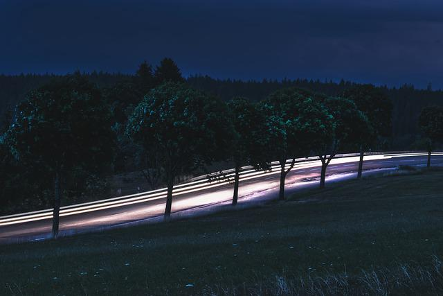 Road, Light, Landscape, Traffic, Highway, Night, Away