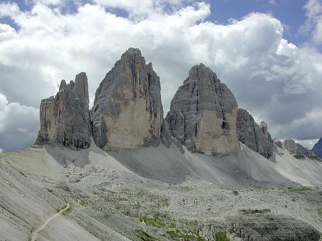 Three Zinnen, Mountains, Lime Rock, Alpine, Trail, Away