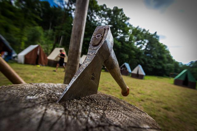 Tents, Camp, Block, Hatchet, Scout, Nature, Ax, Summer
