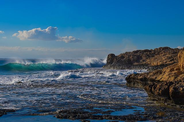 Wave, Smashing, Rocky Coast, Winter, Cyprus, Ayia Napa