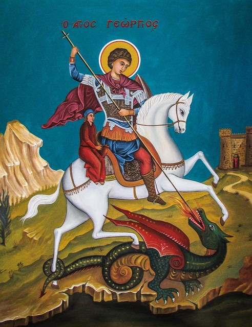 Ayios Georgios, Saint, Dragon, Iconography, Fresco