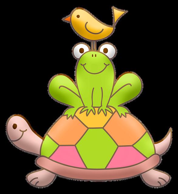 Turtle, Frog, Bird, Cute, Nursery Art, Baby Art