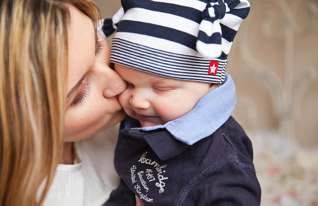 Baby, Baby With Mom, Mother Kiss, Tenderness