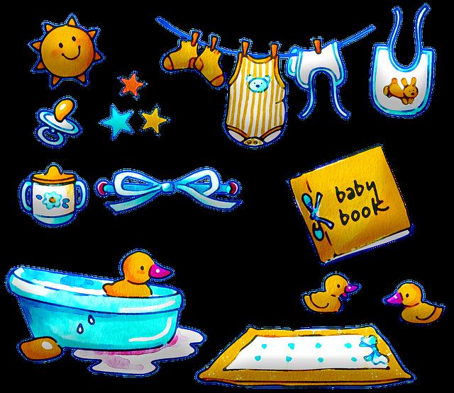 Watercolor Baby Items, Clothes, Bath, Baby Book