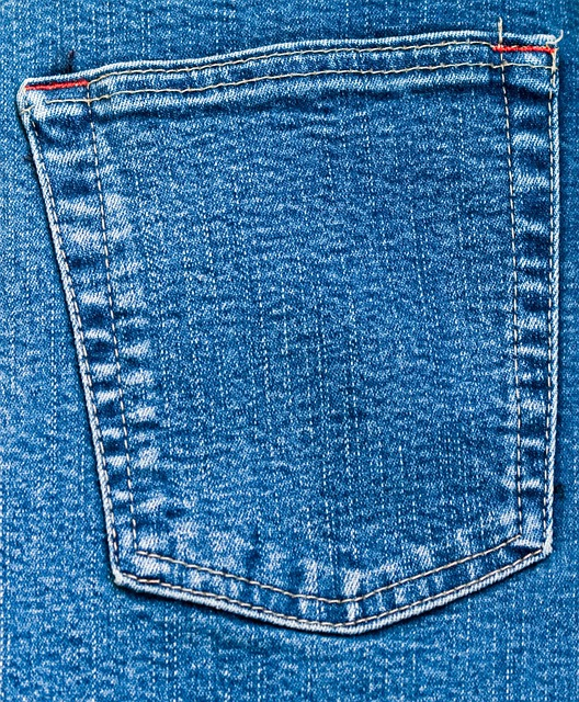 Denim, Jeans, Pocket, Back, Close-up, Blue, Material