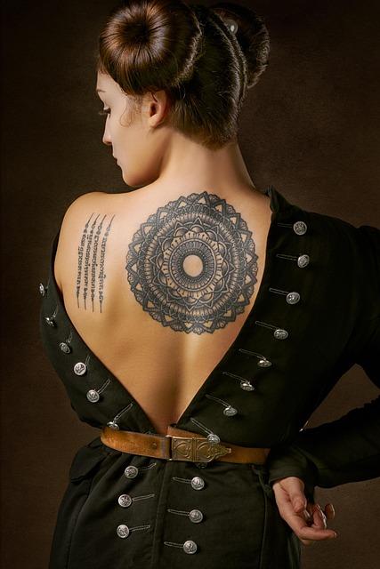 Girl, Vintage, Portrait, Tattoo, Mandala, Back
