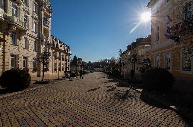 Lazne, Czech Republic, Back Light, Shopping Street