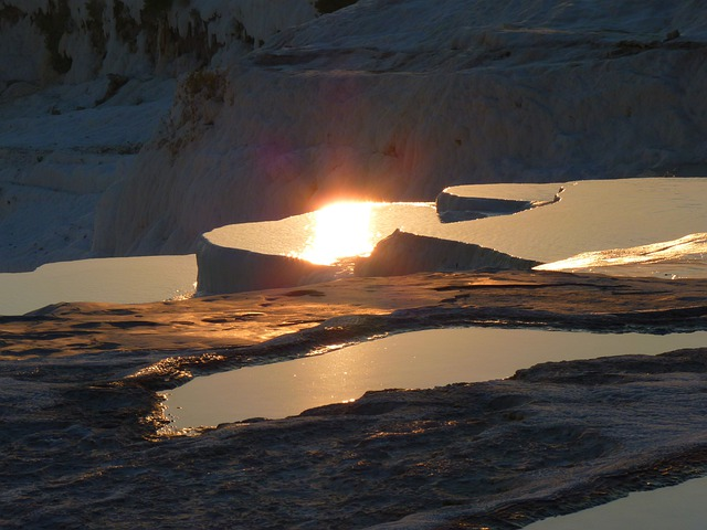 Pamukkale, Lime Sinter Terrace, Back Light, Sun