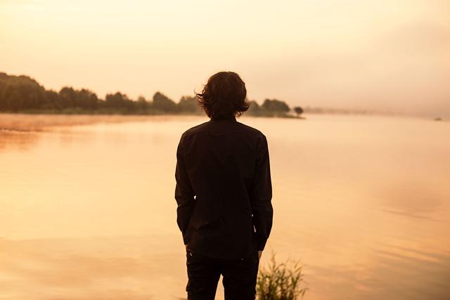 Man, Back, Lake, Black, Shirt, Mountain Lake, Morning