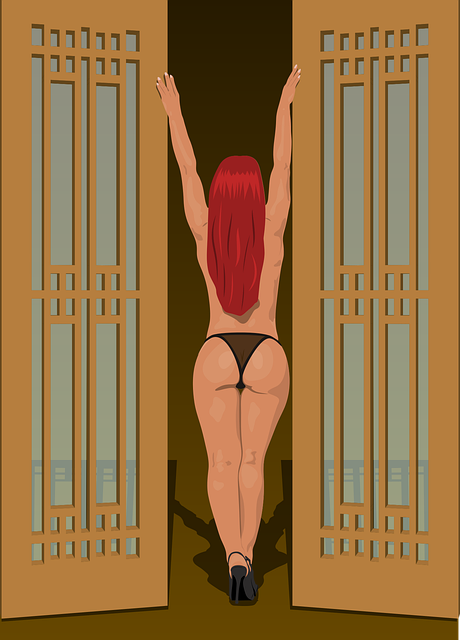 Woman, People, Thong, Back View, Red Hair, Stand Up