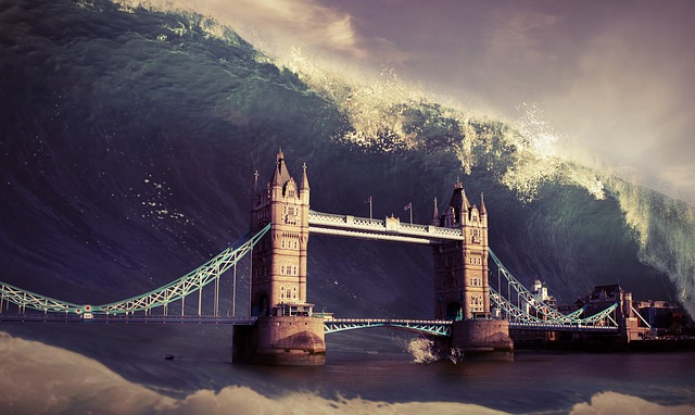 Wave, Tower, Bridge, Flood, Apocalypse, Background