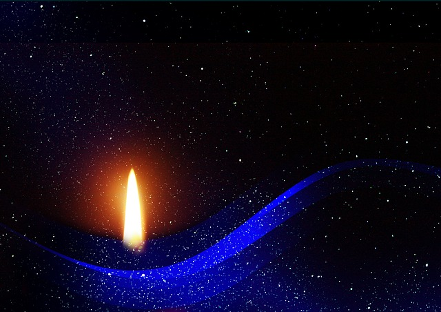 Candle, Candlelight, Background, Structure, Blue, Black