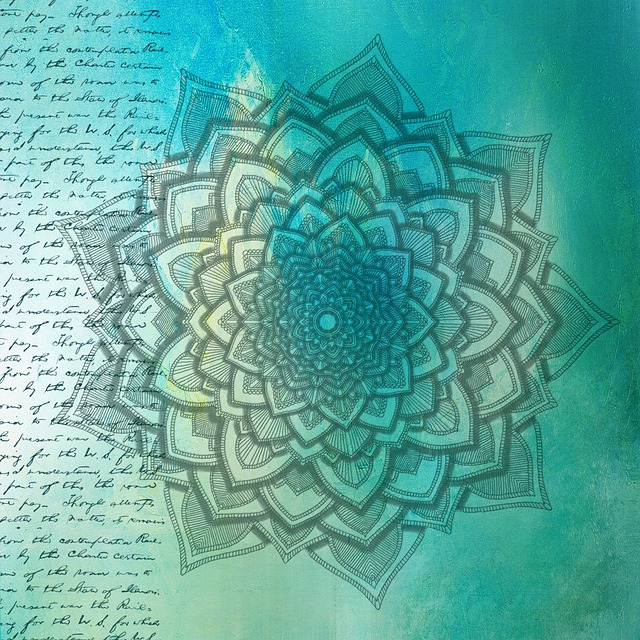 Background, Mandala, Texture, Grunge, Paper, Blue