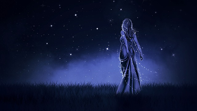 Wallpaper, Background, Night, Blue, Girl, Fiction