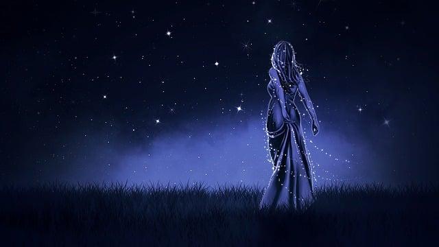 Wallpaper, Background, Night, Blue, Girl, Fiction