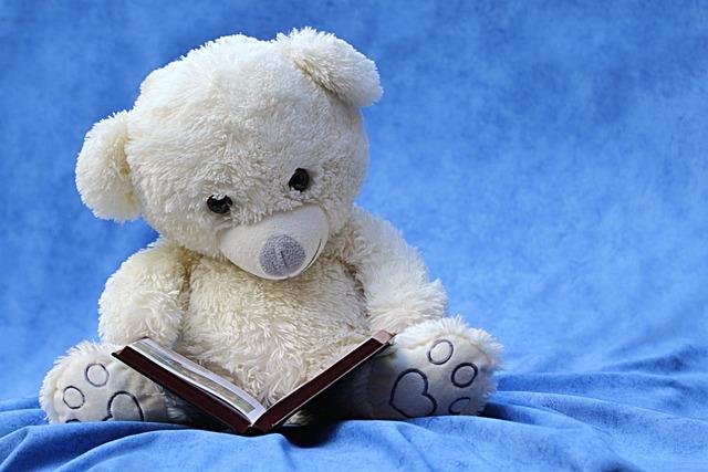 Still Life, Teddy, White, Read, Book, Background Blue