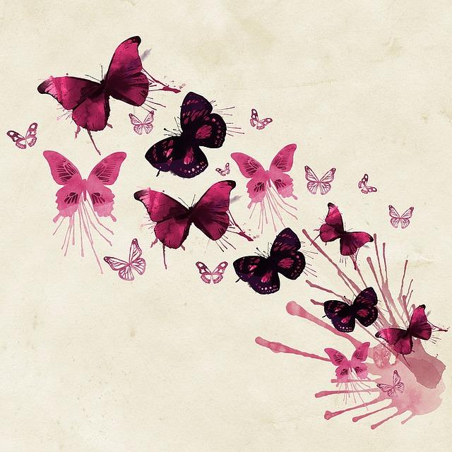 Background, Butterflies, Pink, Watercolor, Creative