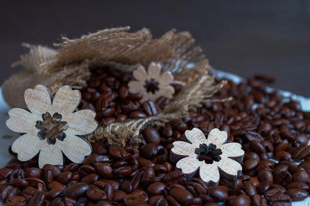 Coffee, Coffee Beans, Wood Flowers, Background, Pattern