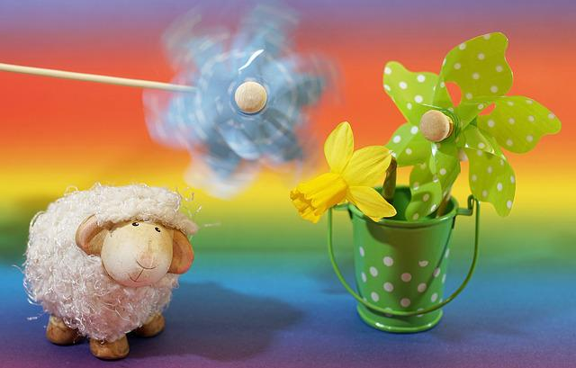 Movement, Wind, Background, Colorful, Pinwheel, Sheep