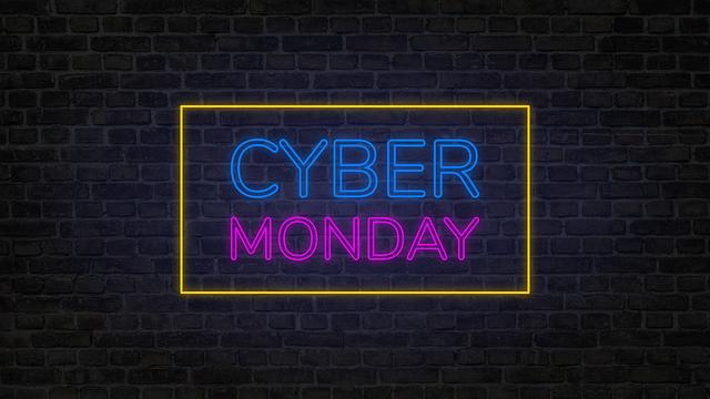 Cyber, Monday, Brick, Background, Neon, Glow, Sale