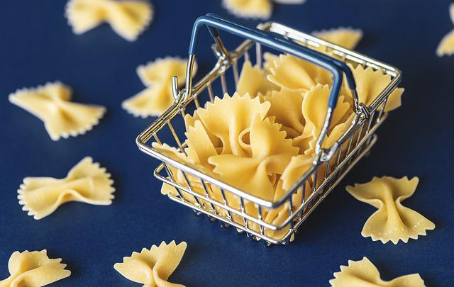 Food, Pasta, Background, Basket, Blue, Carbohydrate