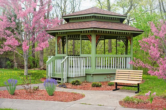 Gazebo, Spring, Flowering Trees, Pink, Background